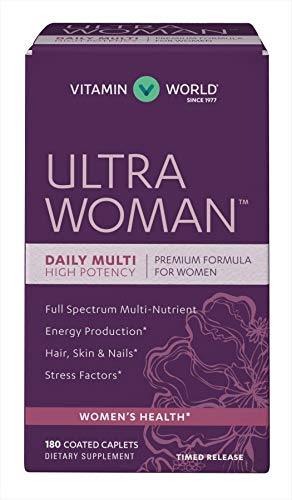 Vitamin World Ultra Woman Daily Multivitamins 180 Caplets, High Potency, Full Spectrum Multi-Nutrient, Hair Skin Nails, Timed Release, Gluten Free, Coated