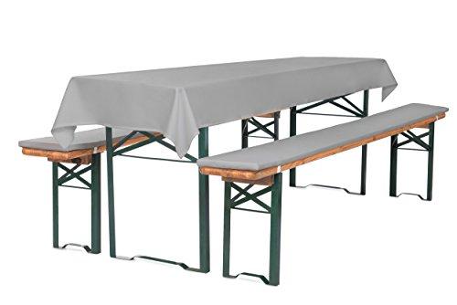 TexDeko Auflagen-Set für Bierzeltgarnitur Bierbankauflagen 220 cm (Schaumstoff Extra Stark RG30/50) mit Tischdecke 3TLG. Set (100x250 cm) Grau