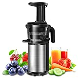 Slow Juicer, Sagnart Juicer Machine for Vegetables & Fruits, Portable Vertical Cold Press Juicer with Reversal Function, Masticating Juicer with Juice Jug and Brush. BPA-free