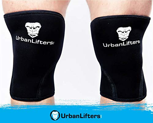 Ginocchiere Urban Lifters (Coppia) Crossfit 7mm Knee Sleeves Ottimo supporto, calore, compressione e miglioramento delle prestazioni per Squats, WOD's, Crossfit, WeightLifting, Powerlifting & Gym Goers. (Noir, M)