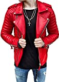 Aries Leathers Men's Lambskin Leather Motorcycle Jacket (L) Red