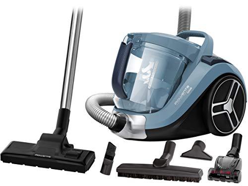 Rowenta RO4871 Aspirapolvere a Traino Senza Sacco, capacit Contenitore Polvere XXL, Tecnologia Ciclonica, Design Compatto, Animal Care Kit, 550 W, 75 Decibel, Azzurro Acqua