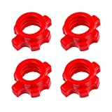 VICASKY 4Pcs Spin-Lock Collars Plastic Anti-Slip Standard Barbell Exercise Collars Hex Nut Screw Clamps for Dumbell Weight Lifting Fitness Training Accessorie Red