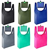 Gogooda Reusable Grocery Bags Set of 6, Reusable Shopping Bags Foldable into Attached Pouch ,Large Capacity Cloth Tote Bags, Machine Washable ,Durable and Lightweight.