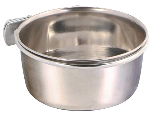 Trixie 5497 Edelstahlnapf mit Schraubbefestigung, 300 ml/ø 9 cm