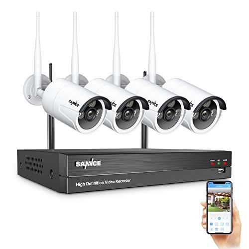 SANNCE Kit de cámaras de vigilancia WiFi 1080P NVR de 8 canales con 4 cámaras de seguridad IP Sistema de vigilancia al aire libre CCTV inalámbrico 1080P IP66 AI Detección humana, acceso remoto - Sin HDD