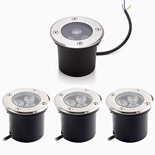 Dailyart 3W LED Bodeneinbaustrahler Aussen Rund 4er Set 230V AC IP65 Wasserdicht 270 Lumen bodenstrahler Außen Led Bodenstrahler Aussen Gartenbeleuchtung Lamp (warmweiß)