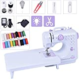 Portable Electric Sewing Machine, 12 Built-in Stitches Mini Beginners Sew Machines with Expansion Table and 20 Threads for Adult Kids Girls Household Embroidery Tool with Foot Pedal Led Light