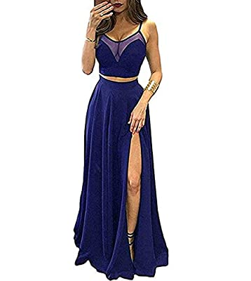 Spaghetti Straps Two Pieces Evening Prom Dresses Long. Fully lined with built-in bra In order to make dress perfect on you, we suggest you offer your accurate measurements. It's free of charge. Please Use The Size Chart Image on the Left. Do not use ...