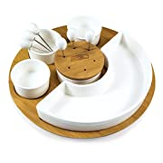 1 bamboo cutting board 1 porcelain Tray Items Color: Natural Wood Decoration: engraved NFL Home gating Symphony appetizer serving set for the football party buffet table Features a beautiful 11-1/2 inch bamboo base tray with half circle bowl, plus as...