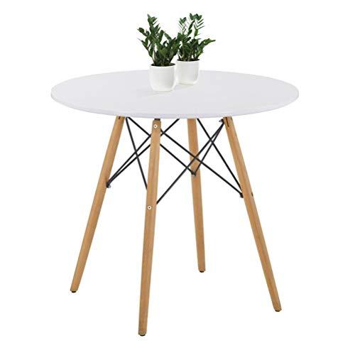 GOLDFAN Eiffel Runde Esstisch, Beine aus Buchenholz, Modernes Skandinavisches Design, Weiß(80*80*71.1cm)