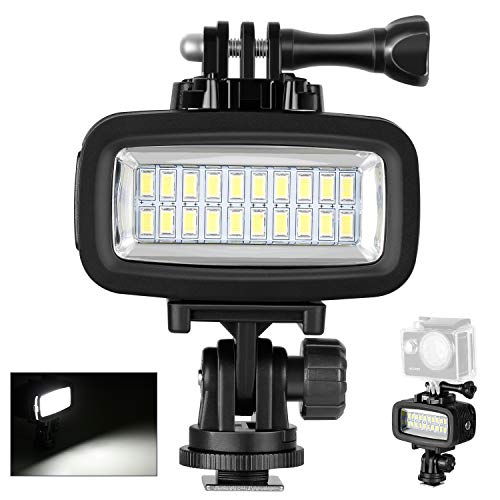 Neewer LED con 20 Perline Impermeabile 40M Sott'acqua 700LM Flash Dimmerabile Illuminazione Supplementare con 3 Filtri(Bianco, Arancione, Viola) per GoPro Hero 4 3+ Action Cam & Reflex Digitali