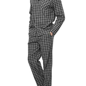 David Archy Men's Flannel Pajama Set Soft Cotton Button-Down Sleepwear With Fly Big and Tall PJ Set Lounge Wear