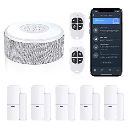 WiFi Door Alarm System, Wireless DIY Smart Home Security System, with Phone APP Alert, 8 Pieces-Kit (Alarm Siren,...