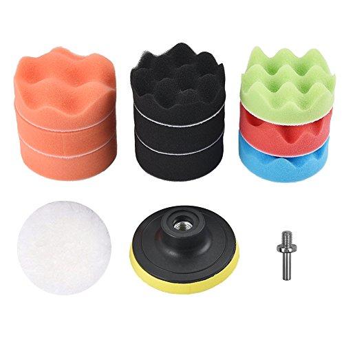 Cizen Esponja Para Pulir Coches,Juego De Almohadillas De Esponja De Pulido De 3 Pulgadas Con Adaptador De Broca M10, Adecuado Para Pulir, Limpiar Y Encerar Automóviles