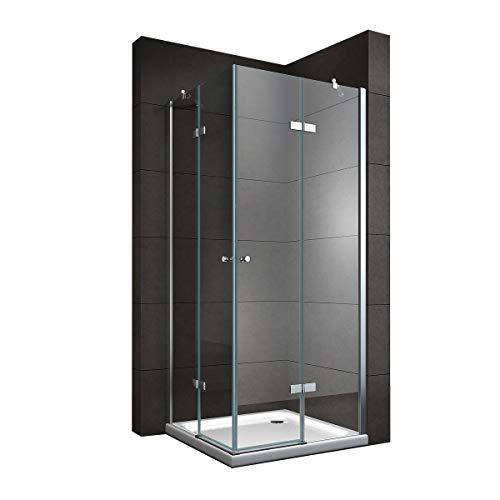 Duschkabine mit Eckeinstieg 75x75 cm 190cm Höhe Klarglas 6mm ESG NANO