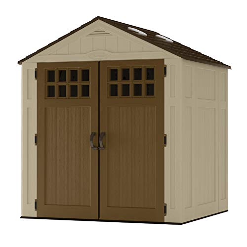 Suncast 6' x 5' Everett Storage Shed with Windows - Natural Wood-like Outdoor Storage for Power Equipment and Yard Tools - All-Weather Resin Material, Skylights and Shingle Style Roof