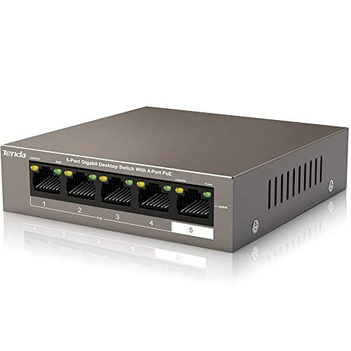 Tenda Poe Switch Gigabit 5-Port 10/100/1000 Mbps,...