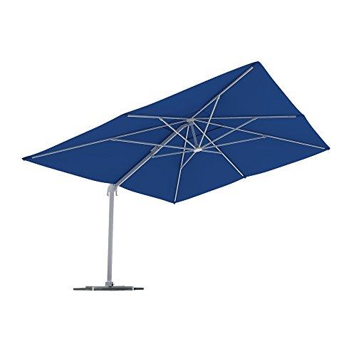 paramondo parapenda Ampelschirm Ampelsonnenschirm, Rechteckig, Blau, 4 x 3 m, 360° Schwenkbar, Kurbelbedienung, Stahl-Standkreuz und Gestell in Anthrazit