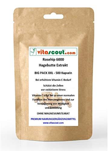 Rosehip/Hagebutte Extrakt 6000-500 Kapseln - SB*: Arthrose, Gelenke, Anti-Aging - PN: 0501159