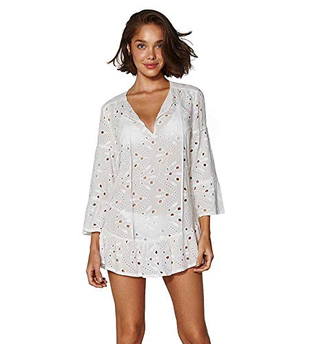 41pZzwtVR+L Designer: Vix Swimwear Collection: White Eyelet Name: Long Sleeve Eyelet Cover Tunic