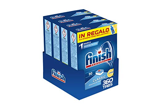 Finish, 360 Pastiglie per Lavastoviglie, Classic, 4 Confezioni da 90 Pastiglie, Limone