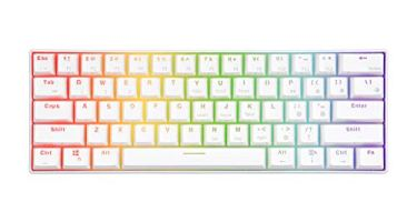 RK61 60% RGB Mechanical Gaming Keyboard Small Compact 61 Keys, Wired/Wireless Bluetooth Mini Portable Keyboard Gaming/Office for iOS Android Windows and Mac with Programmer Brown Switch – White