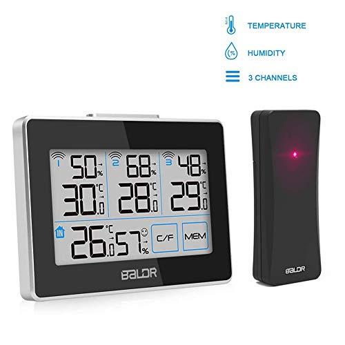 FOCHEA Stazione Meteorologica con 3 Sensore Esterno, Stazione Meteo Wireless con Schermo LCD per Temperatura e Umidita Misura con l'Icona di comforto, Record MIN e Max, ° C / ° F Commutabile