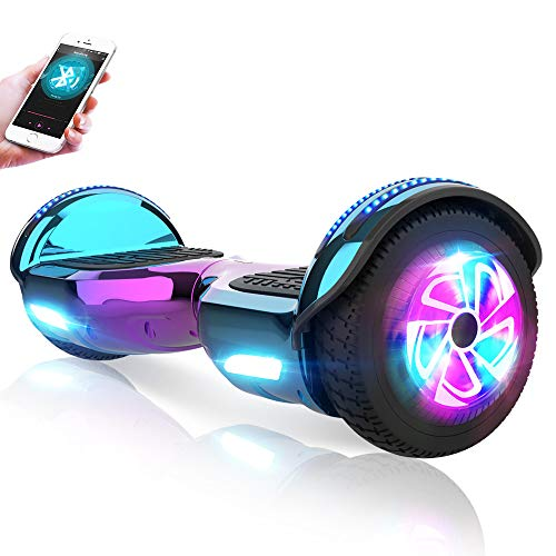 M MEGAWHEELS Gyropode 6.5 Pouces - Hoverboard Tout Tterrain Certifié UL 2272 Auto-équilibrage Balance Board avec Bluetooth et Pneu LED - Violet