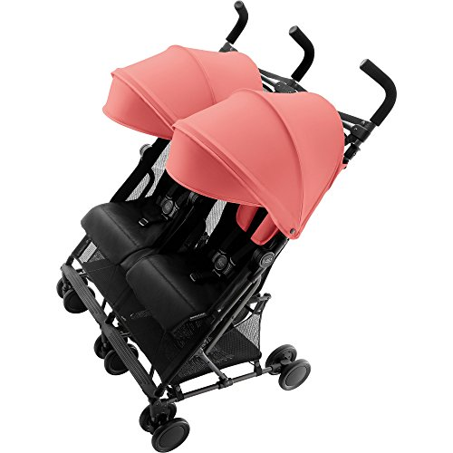 Britax Römer Zwillingskinderwagen, HOLIDAY DOUBLE Buggy, 6 Monate bis 3 Jahre (bis 15 kg Pro Sitz) Kinderwagen, coral peach