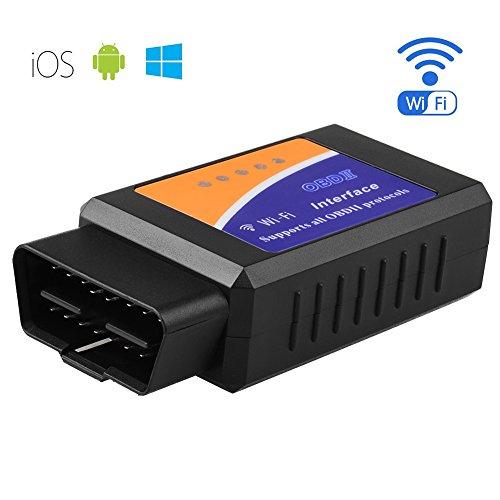 Allcaca 自動車 故障診断機 OBD II 対応 Wi-Fi 超小型 配線不要 OBD2 多車種に適用 多機能 設置簡単車のECU情報をアプリでチェック (サポートのAndriod IOS) (青)