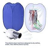 Portable Clothes Dryer,Blue Mini Folding Ventless Electric Air Clothes Dryer Bag Folding Fast Drying Machine with Heater 110V US Plug