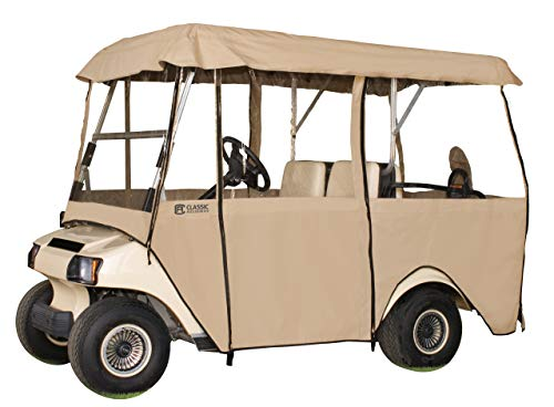 Classic Accessories Fairway Deluxe 4-Sided 4-Person Golf Cart Enclosure, Tan