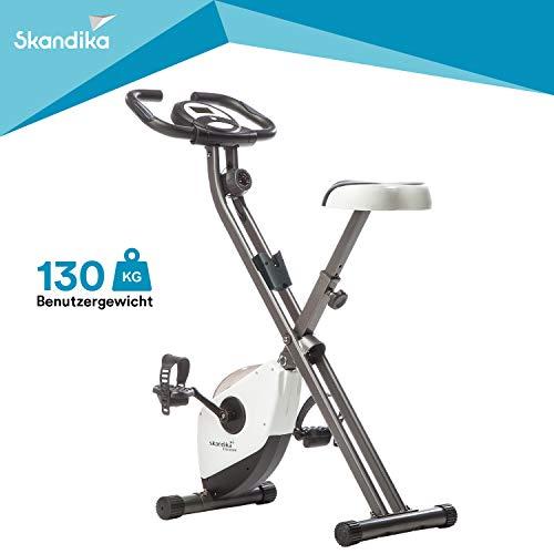 skandika Foldaway X-1000 Fahrradtrainer Heimtrainer klappbar, Bein- und Ausdauertrainer (inkl. Pulsmesser, Trainingscomputer mit Kalorienmessung bis 110kg) (weiß)