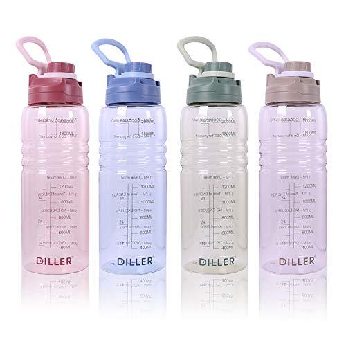 Diller 2L Acqua con Paglia litro 2000ml Piccolo Grande per l'acqua, a Prova di perdite, Senza BPA, Unisex, Leak Proof BPA Free D22 (2000ml, Rosso)