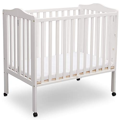 Delta Children Delta Children Folding Portable Mini Baby Crib with Mattress, Bianca White, Bianca White