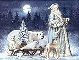 NO BRAND Punto de Cruz Diamante Cuadrado Santa patrón Diamante Pintura Familia Diamante Bordado Retrato Navidad decoración sin Marco 30x40cm WYLUWLI