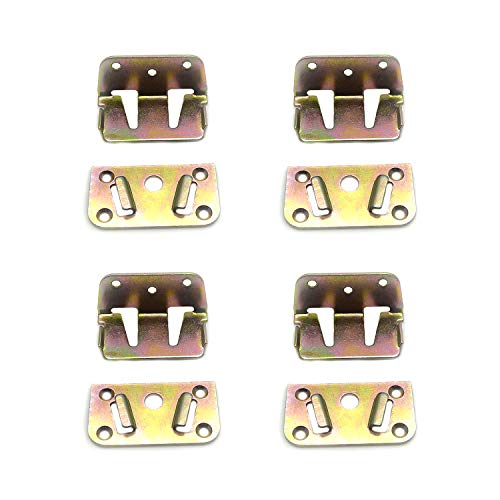 FarBoat 4Pcs Center Bed Rail Brackets Hinges Mattress Support Metal Fastener Heavy Duty with Screws