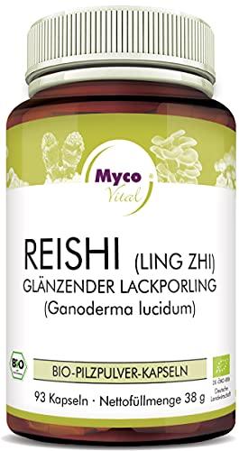 MycoVital Bio Reishi Pilzpulver-Kapseln 93 Stück je 400 mg aus deutschem Anbau - 100% Vegan & Ohne Zusätze