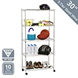 Seville Classics 5-Tier Steel Wire Shelving with Wheels, 30' W x 14' D, Chrome