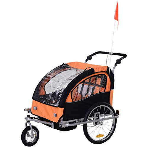 Aosom Elite 360 Swivel 2-in-1 Double Child Two-Wheel Bicycle Cargo Trailer and Jogger with 2 Safety Harnesses, Orange