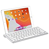 OMOTON Ultra-Slim Bluetooth Keyboard with Sliding Stand, Compatible with iPad 10.2(7th gen)/9.7(6th gen), New iPad Pro 12.9/11 2020, iPad Air 10.5, iPad Mini 5/4, iPhone and Other Phones/Tablets,White