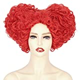Cosela Red Queen Hearts Wig - Women Short Curly Clown Cosplay Costume Halloween Wig Thick Prestyled