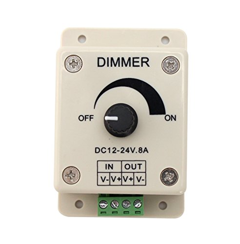 LED調光機 8A 単色テープライト用調光器 つまみ式 (GT-D-8A) 8A適用 ボリューム ライトコントローラー チューブライト用 DC調光器 3528&5050 LED テープライト