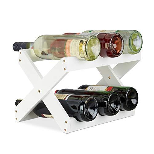 Relaxdays 10022759 Porta Bottiglie Vino Bamb a Forma di X 6 Bottiglie Cantinetta Piccola Pieghevole...