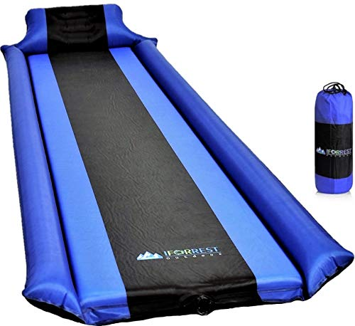 IFORREST Sleeping Pad with Armrest & Pillow - Protection of Rollover, Ultra-Comfortable Self-Inflating Camping Foam Air Mattress (Blue)