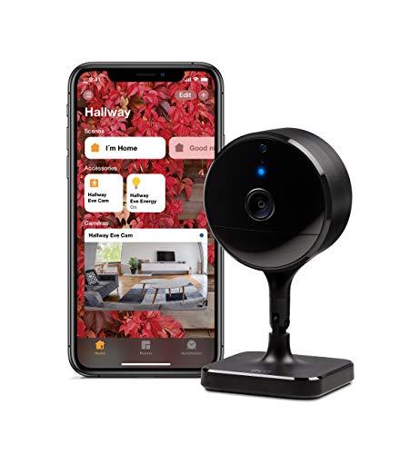 Eve Cam - Cámara interior segura, 100% de privacidad, función de video seguro HomeKit, notificaciones de iPhone / iPad / Apple Watch, sensor de movimiento, micrófono y altavoz