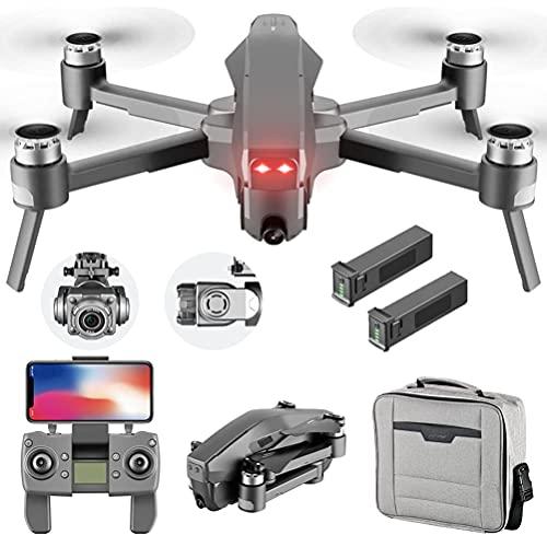 Drone professionale con motore brushless, drone GPS con telecamera ESC 6K, quadricottero con pan / tilt elettronico a 2 assi, droni pieghevoli 5G WiFi FPV trasmissione, tripla funzione di posizioname