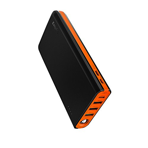 EasyAcc 20000mAh USB C Portable Charger, 18W Quick Charge Power Bank (5A Input, 6A Output) Fast Recharge External Battery Pack, Black Orange
