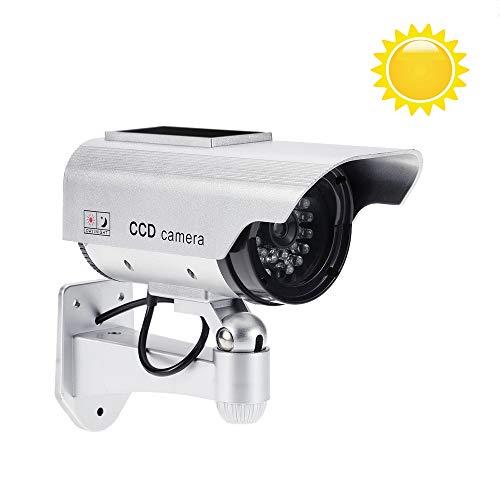 KKmoon Telecamera Finta Esterno, Energia Solare Bullet Camera Impermeabile con LED Lampeggiante IR (Finto) per Sistema di Sicurezza